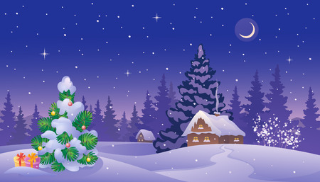 log cabin in snow: Vector illustration of a beautiful snow covered landscape with a small Christmas tree and houses