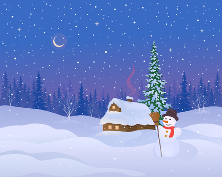 Vector illustration of a beautiful winter night landscape with a snow covered cabin and snowman Stock Illustratie