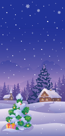 Vector illustration of a snowy landscape with a Christmas tree and village, vertical background