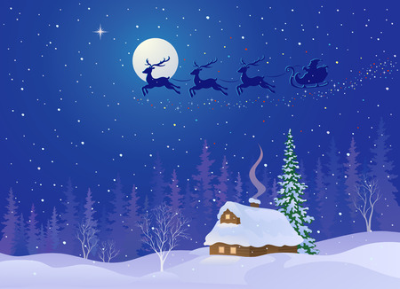 clip art santa claus: Vector illustration of Santa Claus sleigh flying in night sky above snowy woods