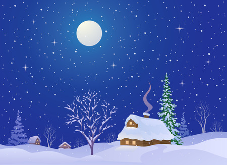 Vector cartoon illustration of a snowy Christmas night village