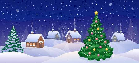 Vector cartoon illustratie van een kerstnacht scène met versierde boom en besneeuwde dorp