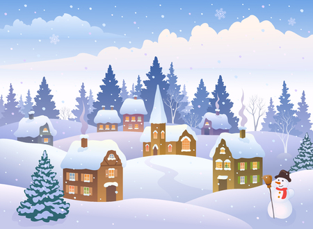 Vector illustration of a winter landscape with a small snowy town with a snowman Illusztráció