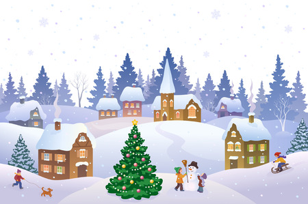 church building: Vector illustration of a Christmas scene in a small snowy town with playing kids