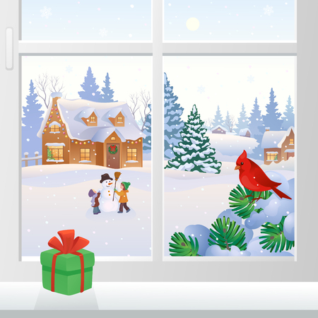Vector illustration of a Christmas window view with snowy houses and kids making a snowman Çizim