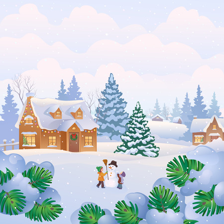 rural community: Vector illustration of a Christmas landscape with snowy homes and kids making a snowman