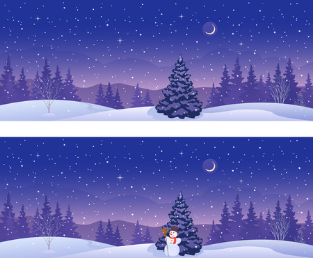 Vector illustration of beautiful winter forest banners, panoramic view