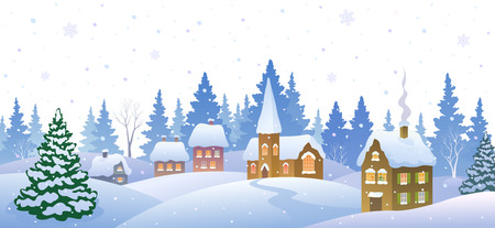 Vector cartoon illustration of a winter small snowy town
