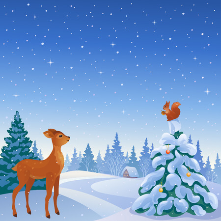 Vector illustration of a winter scene with cute reindeer and squirrel in woodland Illustration