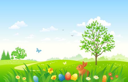 Vector afbeelding van een Paas natuur scene met een konijntje