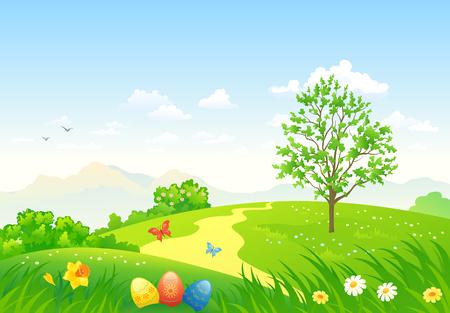flower garden: Vector illustration of a green Easter landscape Illustration