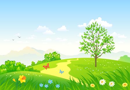 Ilustración vectorial de un hermoso paisaje verde de la primavera Ilustración de vector