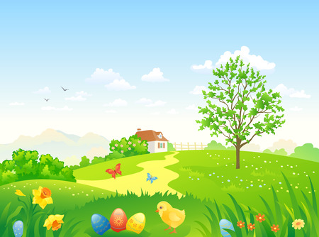 Vector illustration of a beautiful Easter country scenery Stock Illustratie