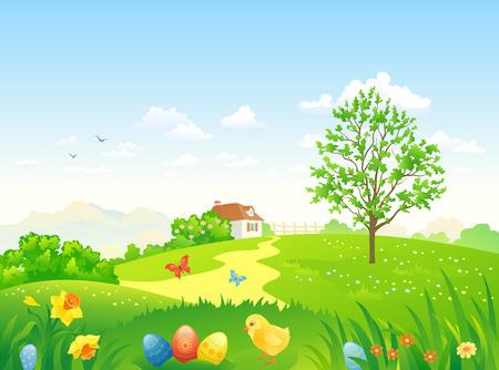 Vector illustratie van een mooie Pasen land landschap