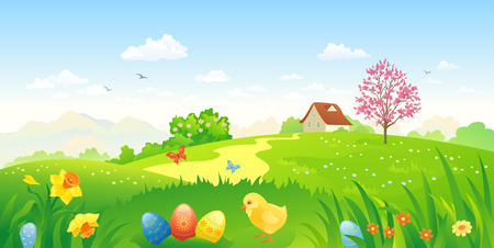 in bloom: Vector illustration of a beautiful Easter landscape
