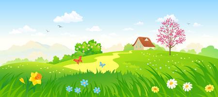 arbol de cerezo: ilustración vectorial de un campo verde primavera Vectores