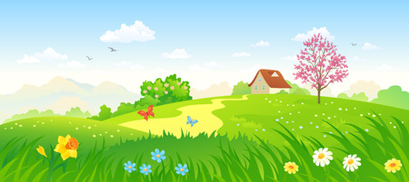Vector illustration of a green spring countryside Illusztráció