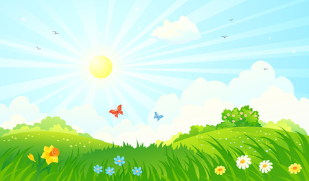 clouds in sky: Vector illustration of a spring sunny meadow