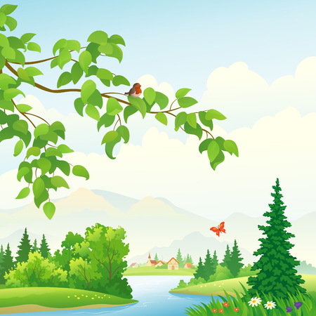 Vector illustration of a green landscape with a leafy branch