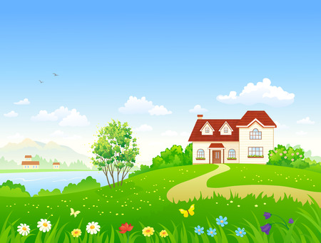 Vector illustration of a country house and garden