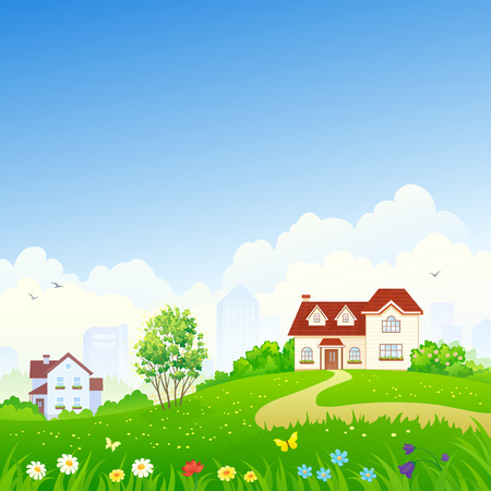 copy space: Vector illustration of suburban houses and garden