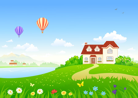 Vector illustration of a summer house at the lake and flying hot air balloons Stock Illustratie