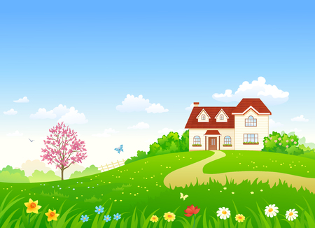 Vector illustration of a spring home and garden with blooming plants