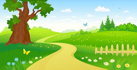 dessin fleurs: illustration d'un chemin forestier d'été