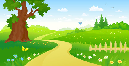 animales del bosque: ilustración de un camino forestal de verano Vectores