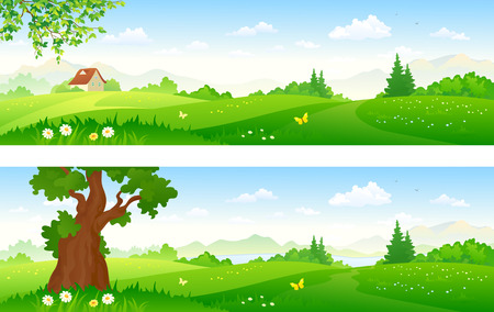 cartoon park: illustration of green summer landscapes