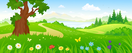 illustration of a beautiful summer forest and meadows Stock Illustratie