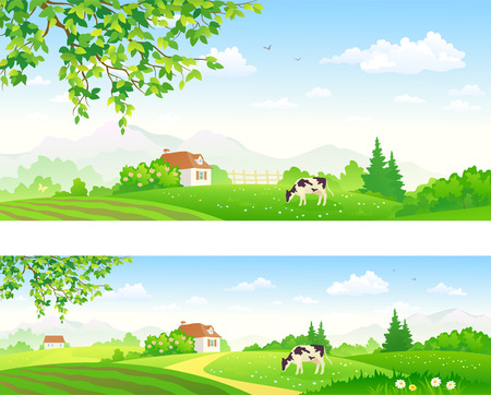 clouds scape: illustration of summer landscapes with a grazing cow
