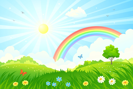 cartoon park: illustration of a beautiful summer landscape with sun and rainbow