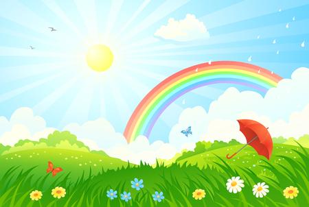 ilustración de un paisaje de verano con un arco iris después de la lluvia y un paraguas en un prado