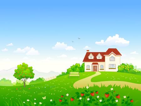 casa de campo: ilustración de un jardín de verano con un árbol de manzana y fresa Vectores