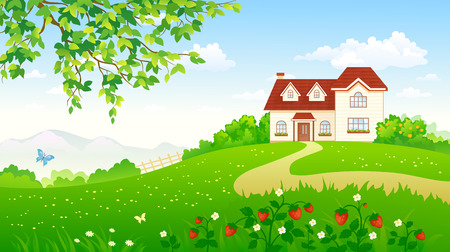 illustration of a summer garden with a strawberry meadow and a house Ilustrace