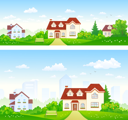 suburbia: illustration of summer suburbs panoramas