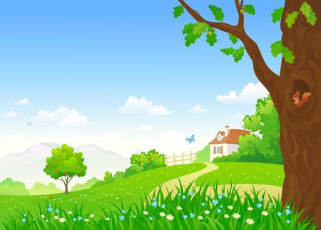 illustratie van een zomer land landschap met een klein huis