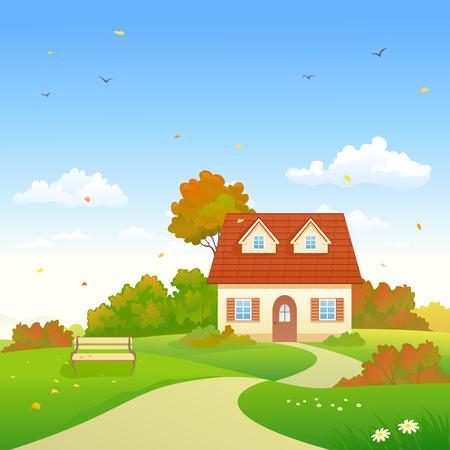 dia soleado: Vector ilustración de un colorido jardín de otoño y una casa de campo