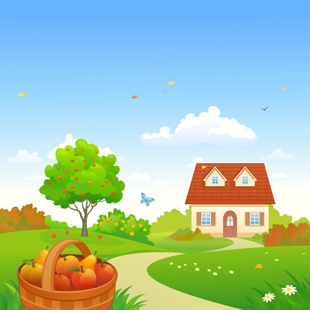 Vector illustration of a harvest orchard landscape with fruit trees and a small house