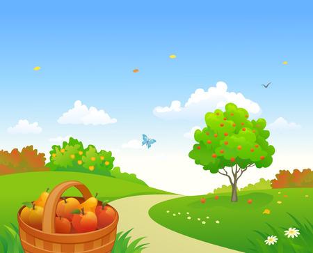 fruits in a basket: Vector illustration of an apple garden harvest