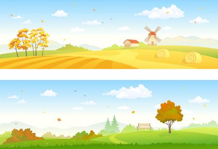 Vector illustration of beautiful autumn countryside scenes