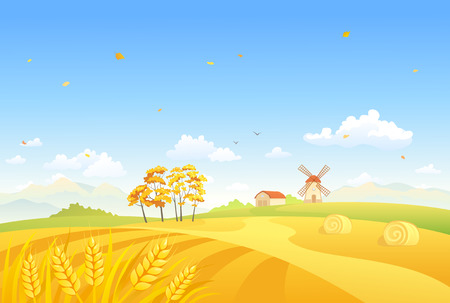 Vector illustration of an autumn farm scene with a windmill and wheat fields