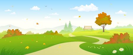 clouds scape: Vector illustration of a beautiful autumn landscape