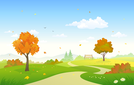 Vector illustration of a beautiful autumn country park