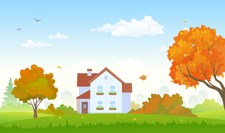 Vector illustration of an autumn suburban house and garden with bright foliage trees
