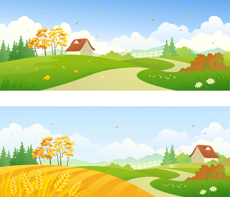 Vector illustration of beautiful autumn country scenes
