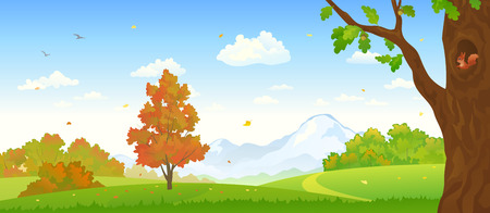 Vector illustration of a beautiful fall forest panorama Stock Illustratie