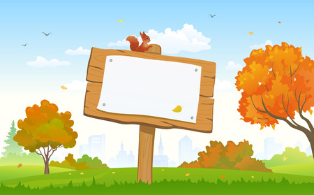 sunny day: Vector illustration of a beautiful autumn city park and a signboard