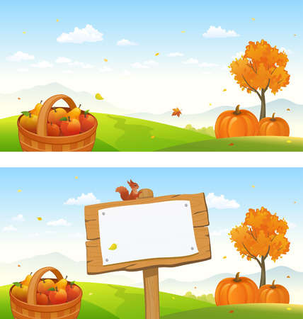 Vector illustration of fall backgrounds with a wooden signboard and an autumn landscape